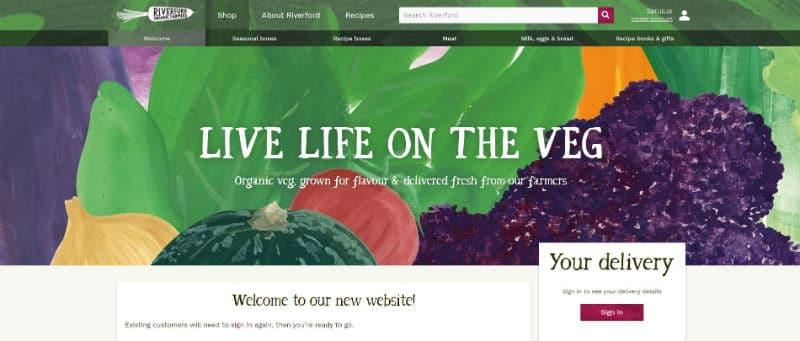 Riverford Organic Farmers vegan recipe box