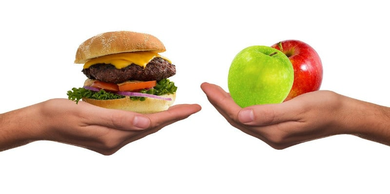 burger and apple