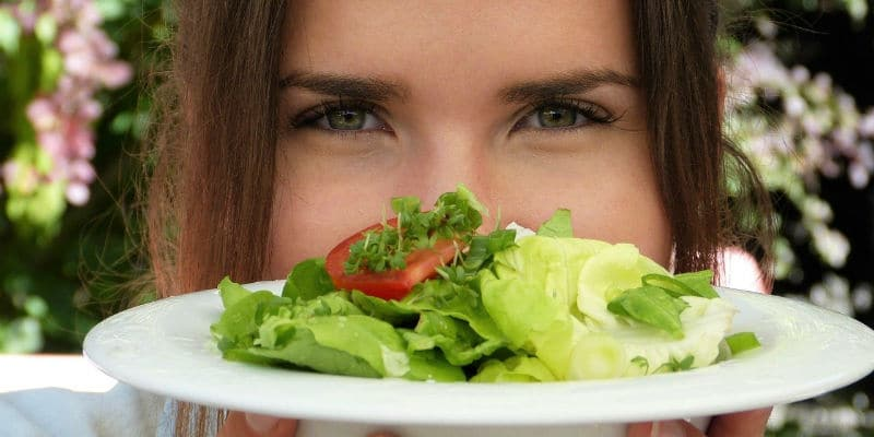vegan girl with salad
