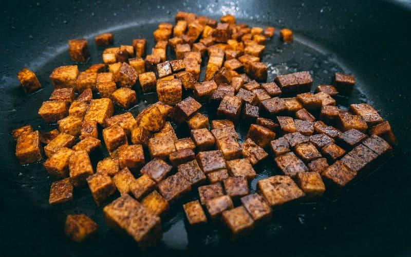 marinated tofu in a pan
