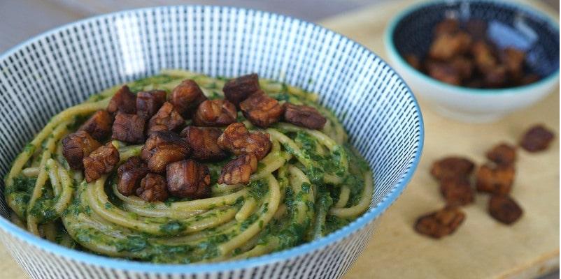 tempeh and spaghetti