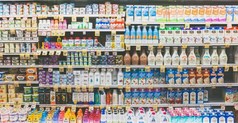 vegan section in supermarket fridge