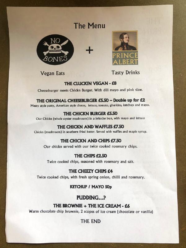 Prince Albert Hastings vegan food menu