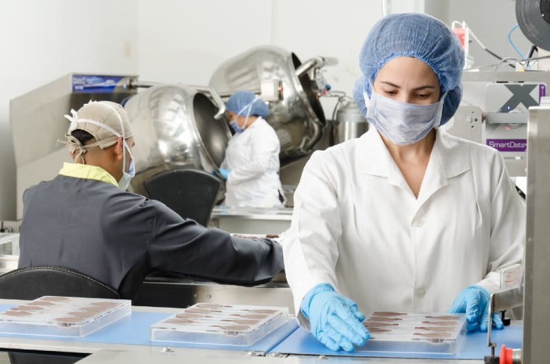 vegan food in factory