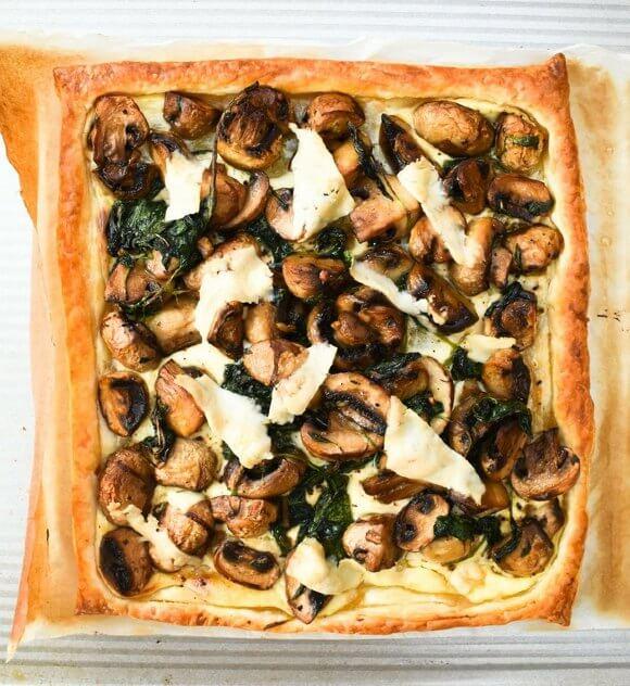 Garlic Mushroom & Spinach Puff Pastry Tart