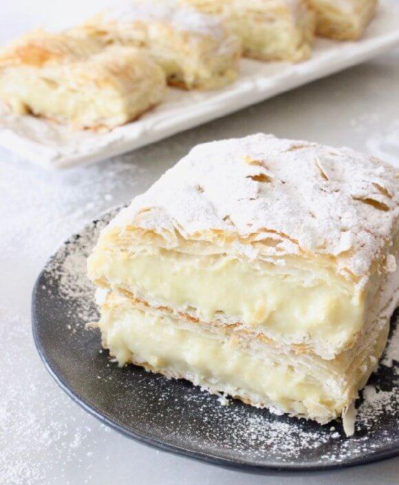 Vegan custard puff pastry Napoleon
