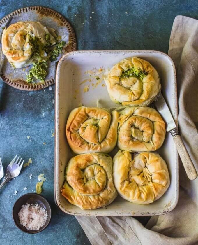 Vegan ricotta and kale filo scrolls