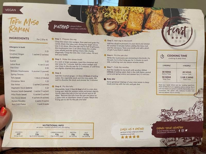 Feast Box recipe card
