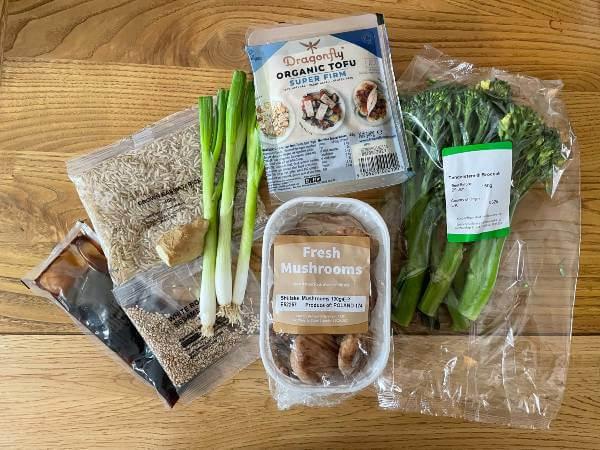 Green Chef vegan Ginger Shiitake Mushrooms and Teriyaki Tofu ingredients