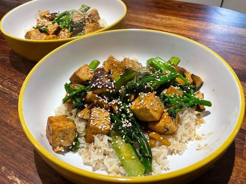 Green Chef vegan Ginger Shiitake Mushrooms and Teriyaki Tofu meal