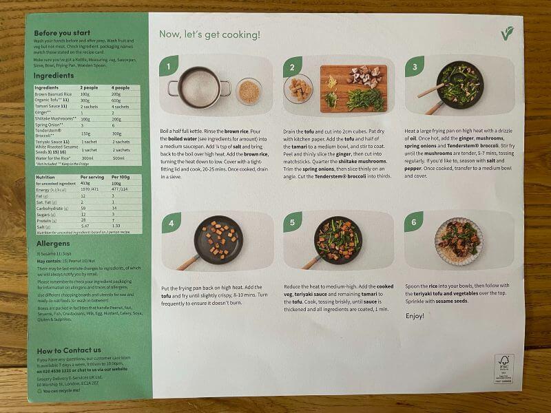 Green Chef recipe card