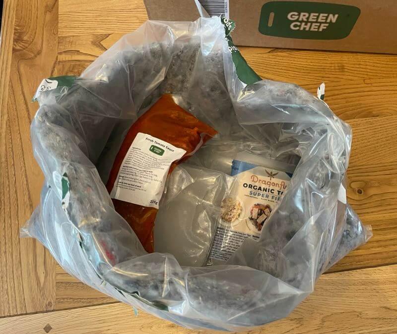 Green Chef denim and plastic insulation