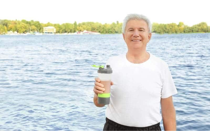 Older man with shake