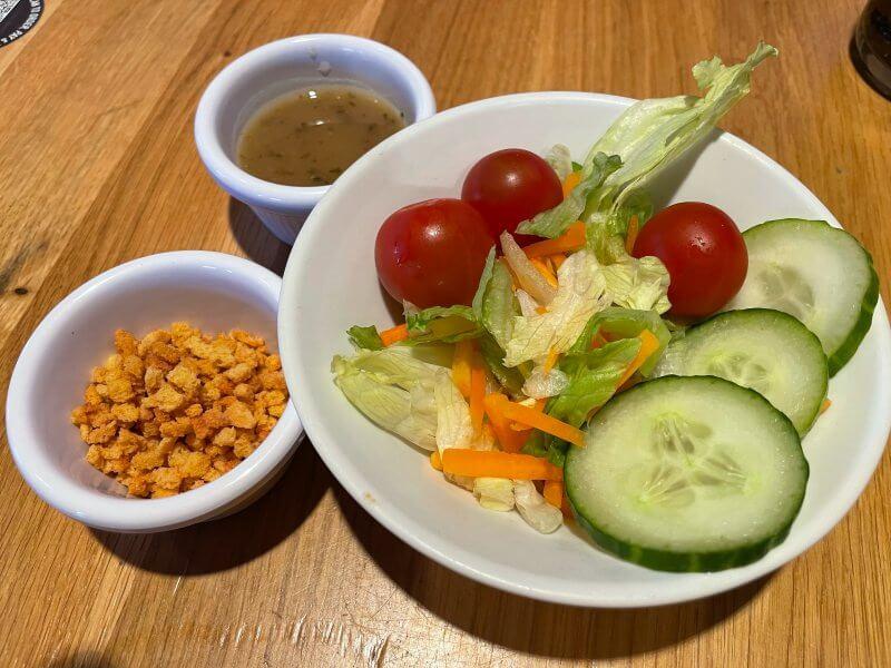 Vegan salad bar at Pizza Hut