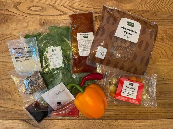 Green Chef vegan Tomato Arrabiata Fusilli ingredients