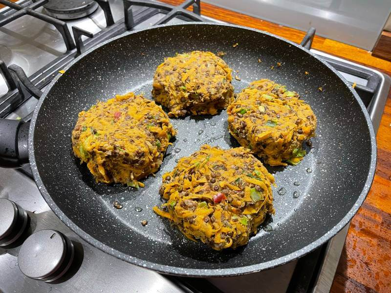 Mindful chef vegan burgers in pan